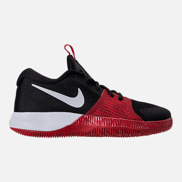 Right view of Boys' Preschool Nike Assersion Basketball Shoes in Black/White/Gym Red
