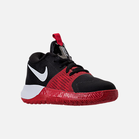 Three Quarter view of Boys' Preschool Nike Assersion Basketball Shoes in Black/White/Gym Red