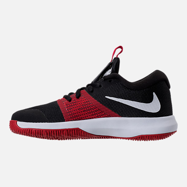 Left view of Boys' Preschool Nike Assersion Basketball Shoes in Black/White/Gym Red