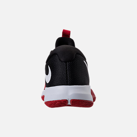 Back view of Boys' Preschool Nike Assersion Basketball Shoes in Black/White/Gym Red