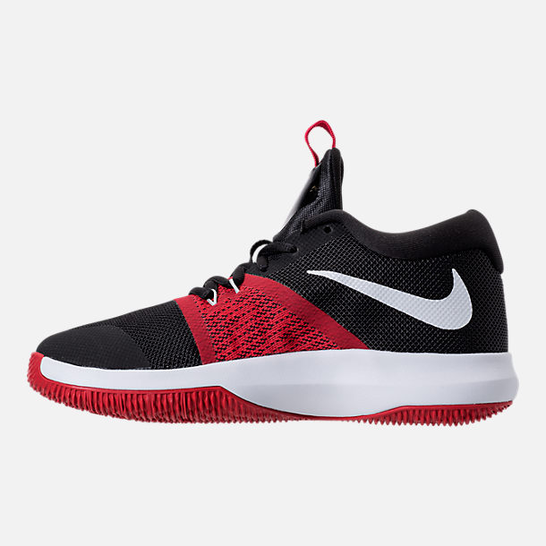 Left view of Boys' Grade School Nike Zoom Assersion Running Shoes in Black/White/Gym Red