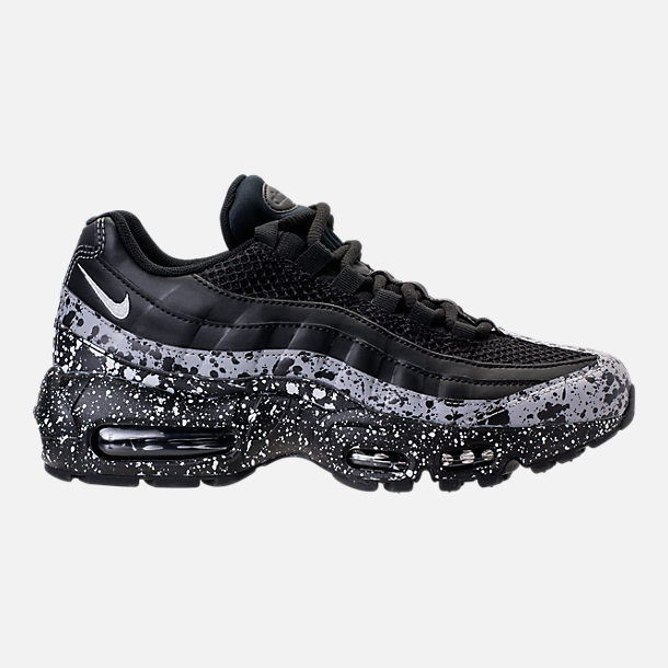 Right view of Women's Nike Air Max 95 SE Running Shoes in Black/Black/White