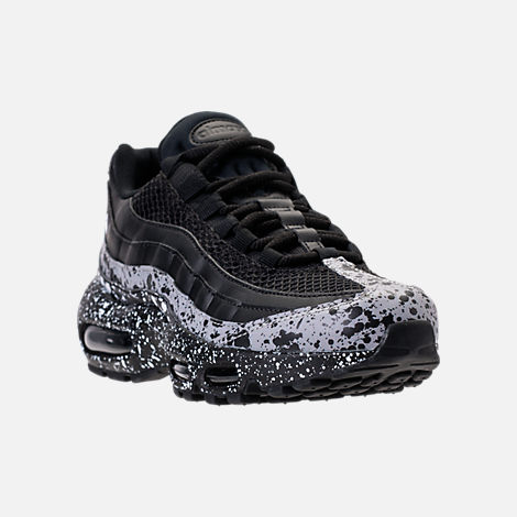 Three Quarter view of Women's Nike Air Max 95 SE Running Shoes in Black/Black/White