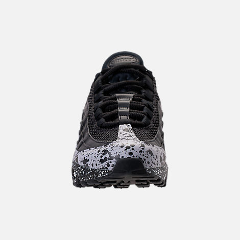 Front view of Women's Nike Air Max 95 SE Running Shoes in Black/Black/White
