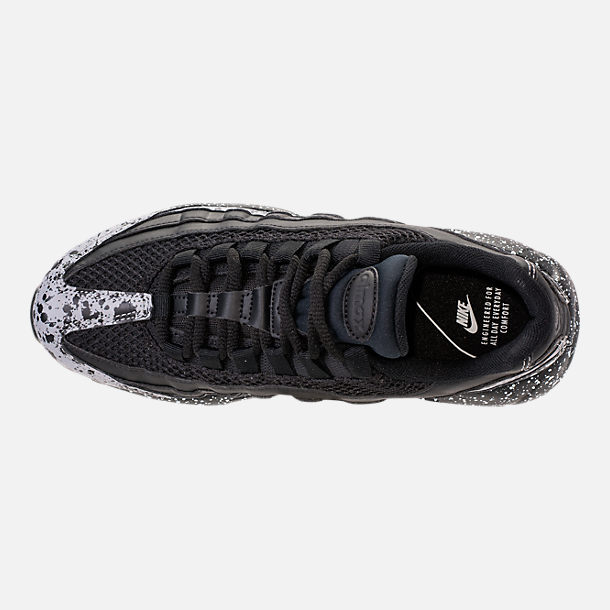 Top view of Women's Nike Air Max 95 SE Running Shoes in Black/Black/White