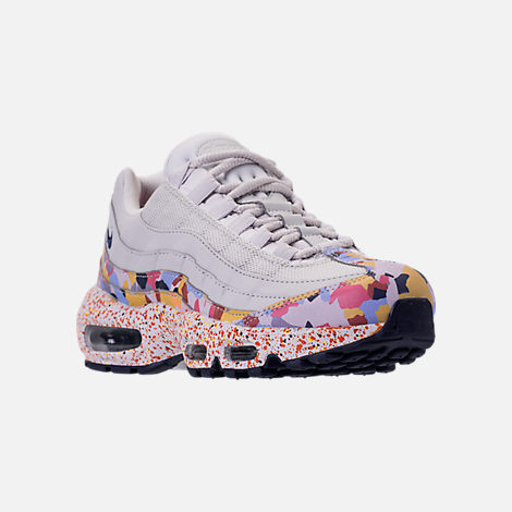 Three Quarter view of Women's Nike Air Max 95 SE Casual Shoes in Vast Grey/Midnight Navy/Habanero Red