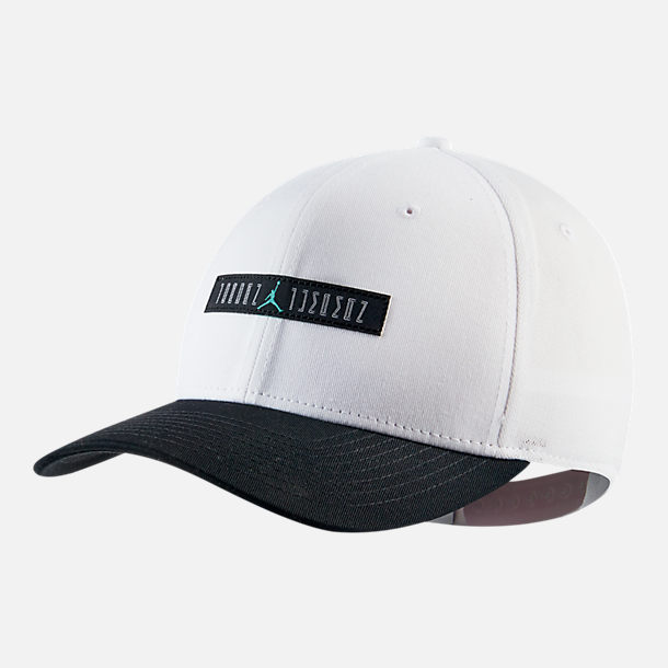 Front view of Jordan Classic 99 AJ Retro 11 Legacy Snapback Hat in White/Black