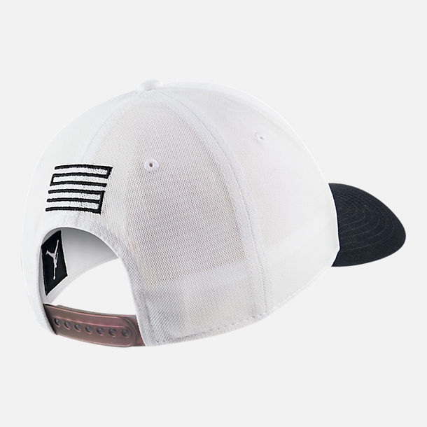 Back view of Jordan Classic 99 AJ Retro 11 Legacy Snapback Hat in White/Black