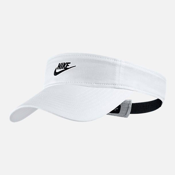 Front view of Women's Nike Sportswear Visor in White/Black