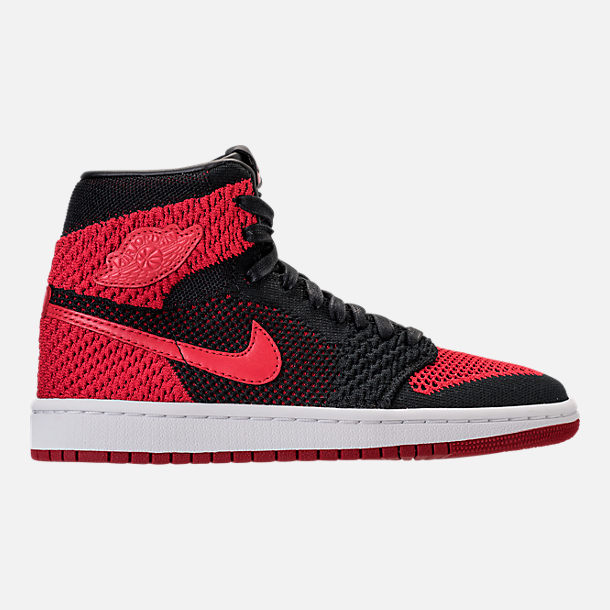 Right view of Boys' Grade School Air Jordan Retro 1 High Flyknit Basketball Shoes in Black/Varsity Red/White