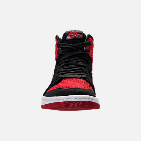 Front view of Boys' Grade School Air Jordan Retro 1 High Flyknit Basketball Shoes in Black/Varsity Red/White