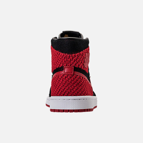 Back view of Boys' Grade School Air Jordan Retro 1 High Flyknit Basketball Shoes in Black/Varsity Red/White
