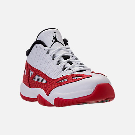 Three Quarter view of Men's Air Jordan 11 Retro Low IE Basketball Shoes in White/Gym Red/Black