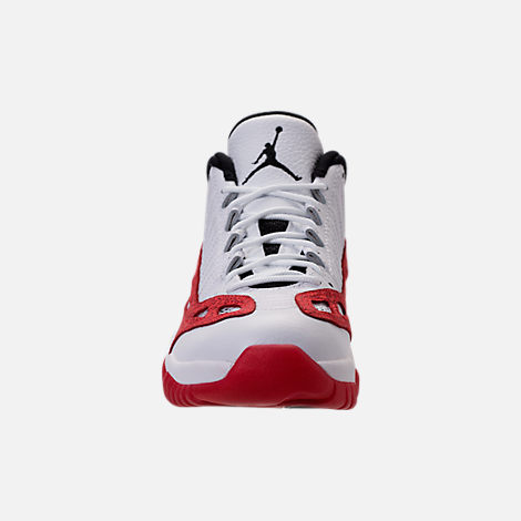 Front view of Men's Air Jordan 11 Retro Low IE Basketball Shoes in White/Gym Red/Black