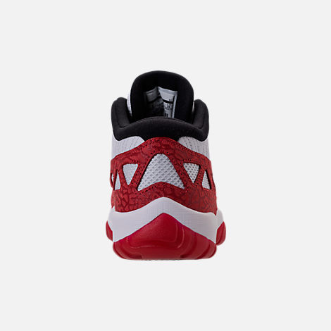 Back view of Men's Air Jordan 11 Retro Low IE Basketball Shoes in White/Gym Red/Black