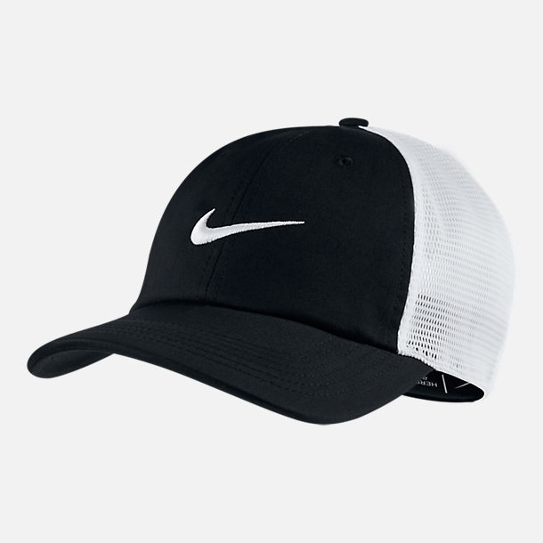 Front view of Unisex Nike AeroBill Heritage86 Mesh Adjustable Hat in Black/White
