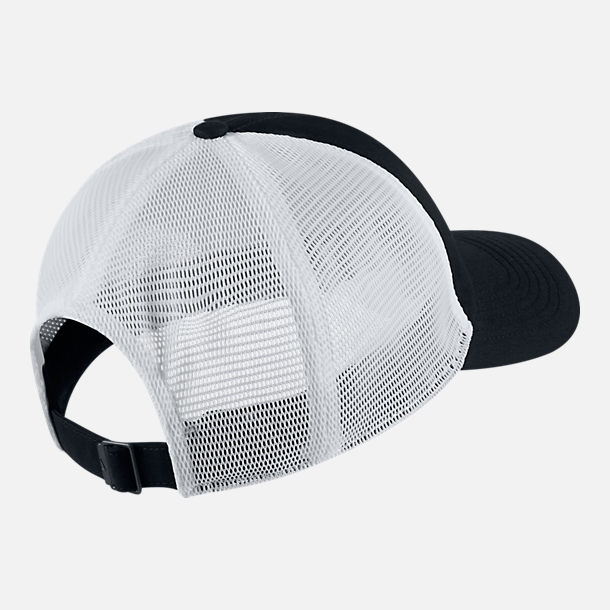 Back view of Unisex Nike AeroBill Heritage86 Mesh Adjustable Hat in Black/White