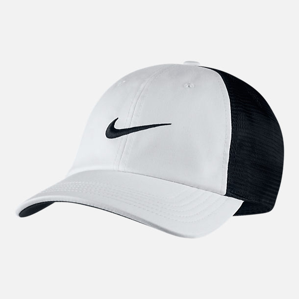 Front view of Unisex Nike AeroBill Heritage86 Mesh Adjustable Hat in White/Black