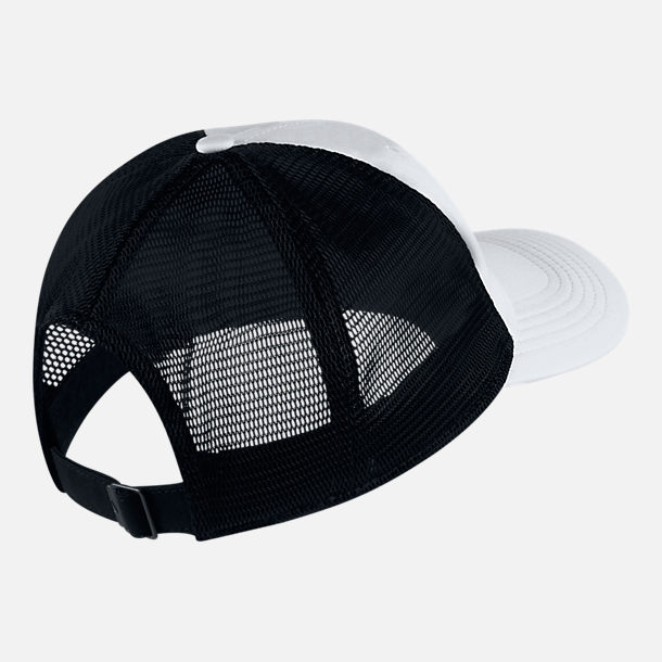 Back view of Unisex Nike AeroBill Heritage86 Mesh Adjustable Hat in White/Black