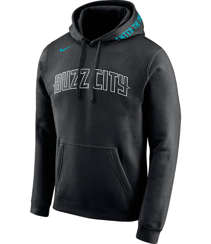 Front view of Men's Nike Charlotte Hornets NBA Club City Fleece Pullover Hoodie in Black