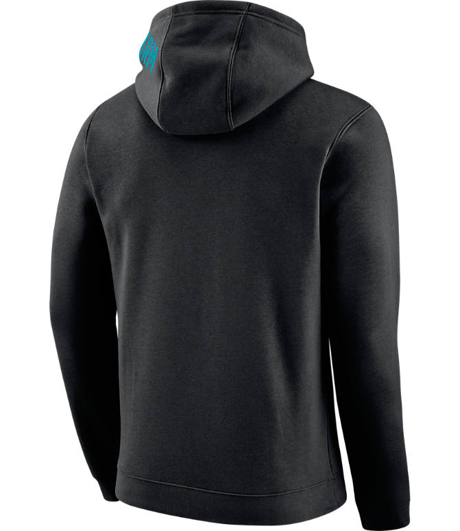 Back view of Men's Nike Charlotte Hornets NBA Club City Fleece Pullover Hoodie in Black