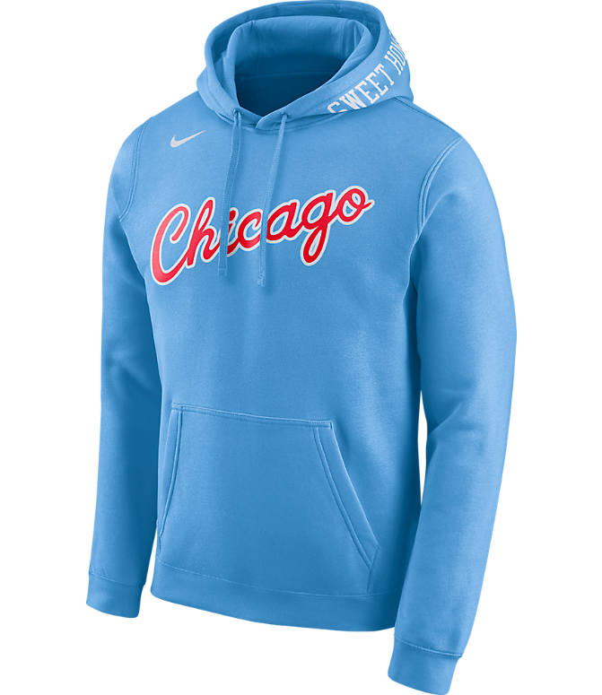 Front view of Men's Nike Chicago Bulls NBA Club City Fleece Pullover Hoodie in Valor Blue