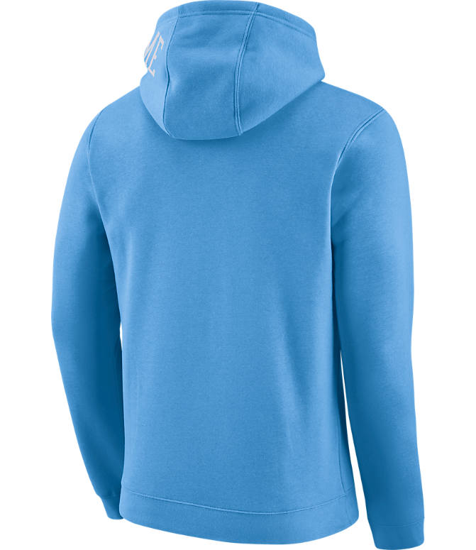 Back view of Men's Nike Chicago Bulls NBA Club City Fleece Pullover Hoodie in Valor Blue