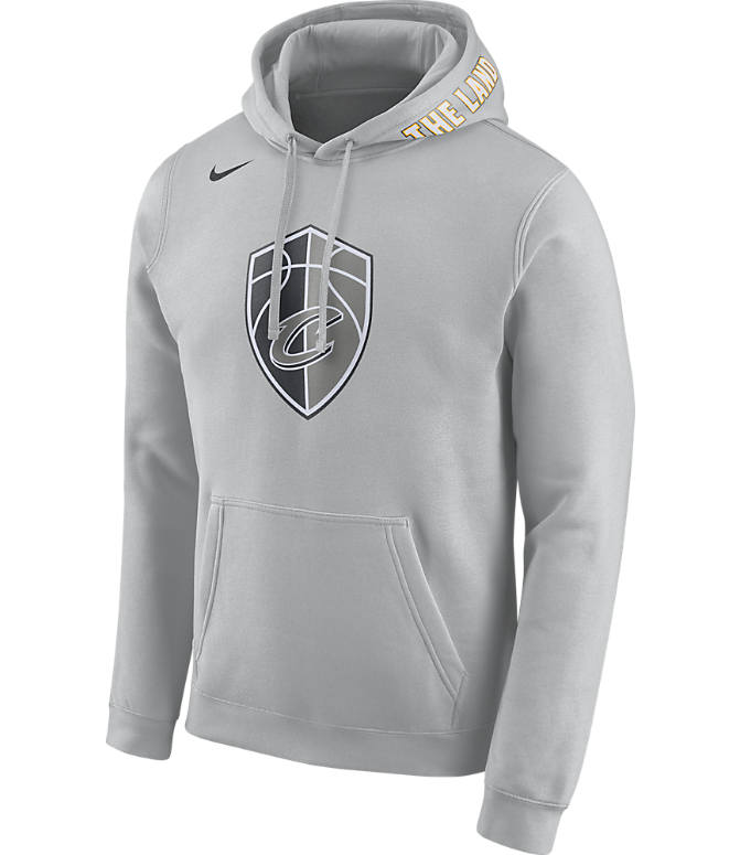 Front view of Men's Nike Cleveland Cavaliers NBA Club City Fleece Pullover Hoodie in Silver