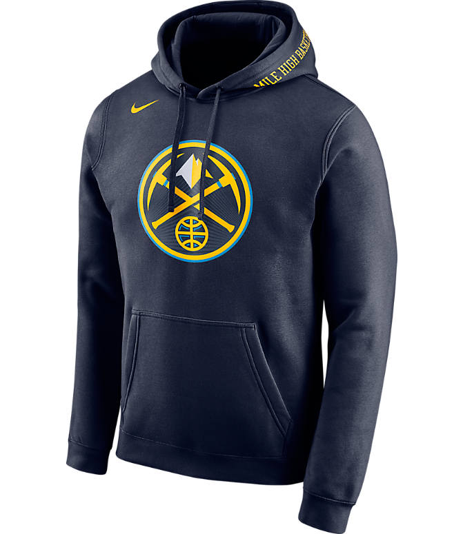 Front view of Men's Nike Denver Nuggets NBA Club City Fleece Pullover Hoodie in Navy