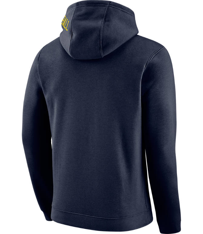 Back view of Men's Nike Denver Nuggets NBA Club City Fleece Pullover Hoodie in Navy
