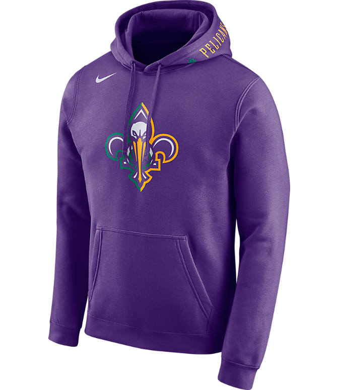 Front view of Men's Nike New Orleans Pelicans NBA Club City Fleece Pullover Hoodie in Field Purple