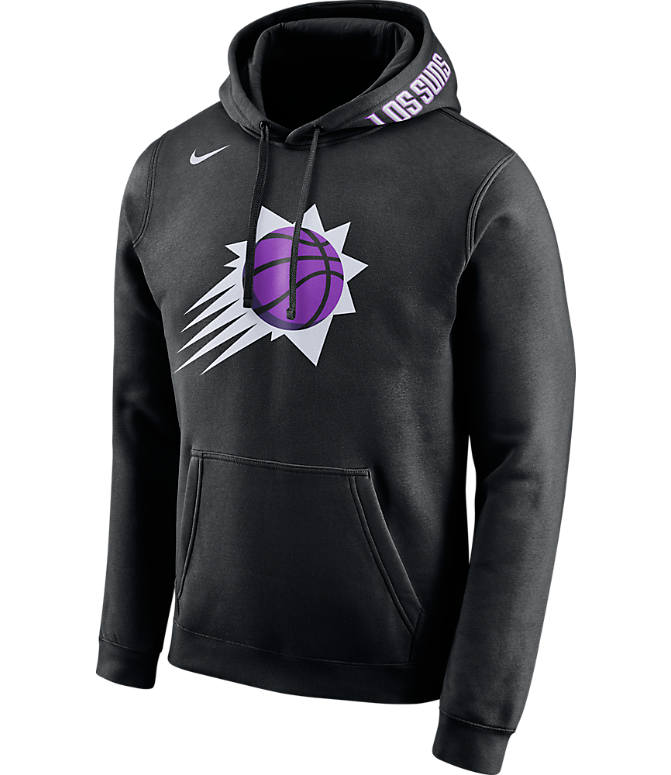Front view of Men's Nike Phoenix Suns NBA Club City Fleece Pullover Hoodie in Black