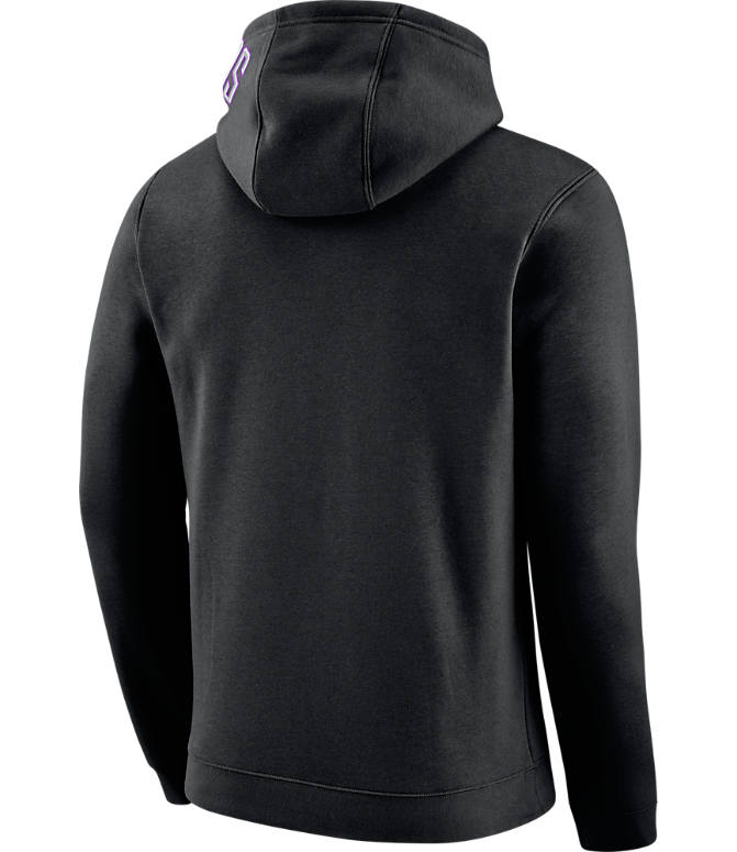 Back view of Men's Nike Phoenix Suns NBA Club City Fleece Pullover Hoodie in Black