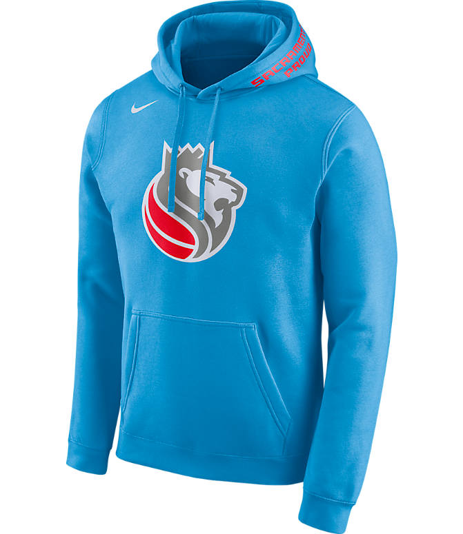 Front view of Men's Nike Sacramento Kings NBA Club City Fleece Pullover Hoodie in Coast Blue