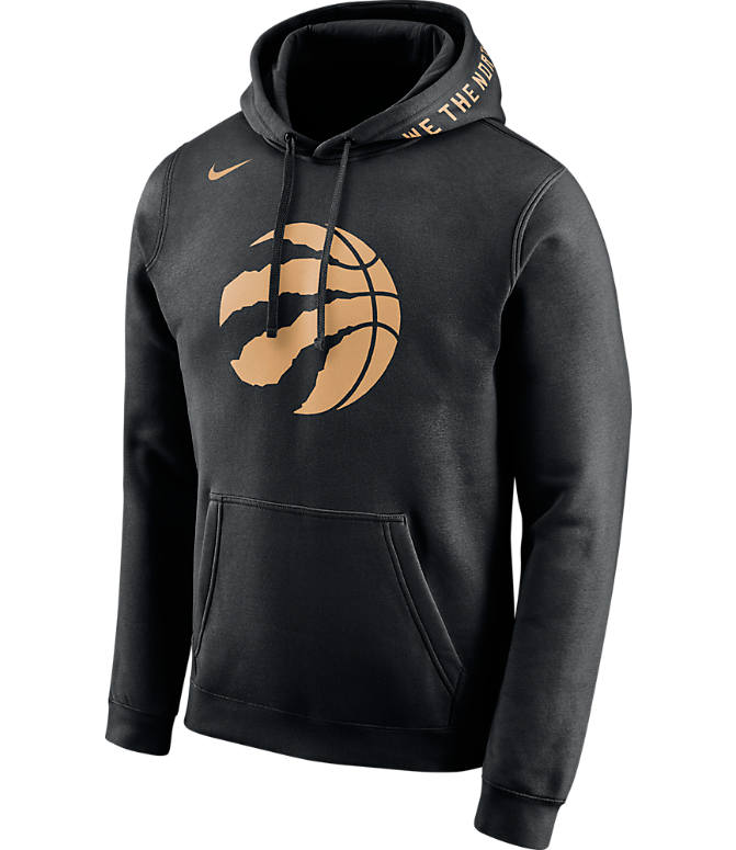 Front view of Men's Nike Toronto Raptors NBA Club City Fleece Pullover Hoodie in Black