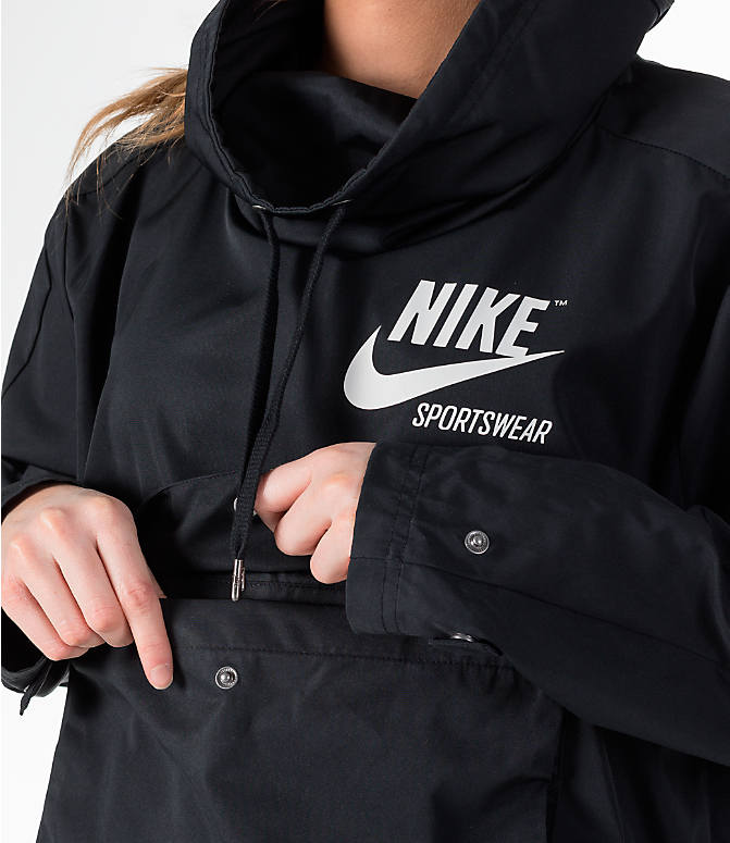 Detail 1 view of Women's Nike Sportswear Archive Crop Hoodie in Black/Black