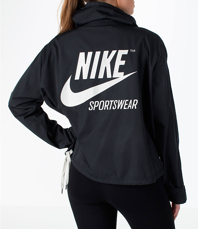 Front view of Women's Nike Sportswear Archive Crop Hoodie in Black/Black