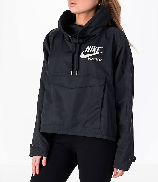 Front Three Quarter view of Women's Nike Sportswear Archive Crop Hoodie in Black/Black