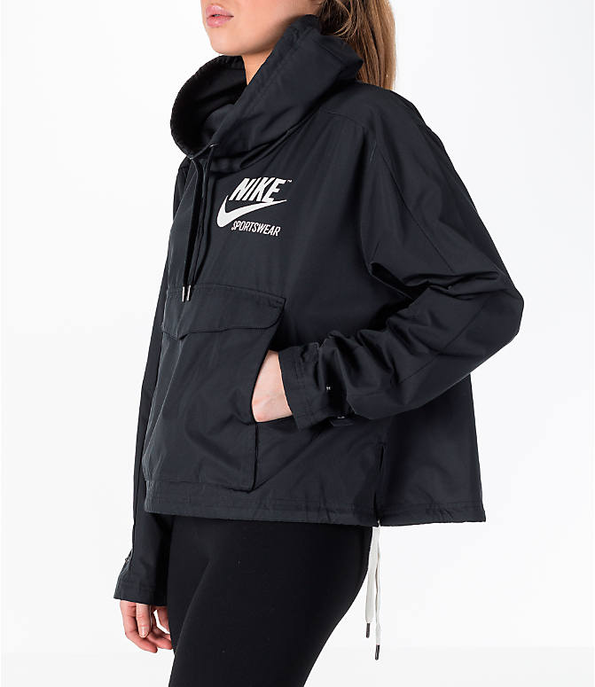 Back Left view of Women's Nike Sportswear Archive Crop Hoodie in Black/Black