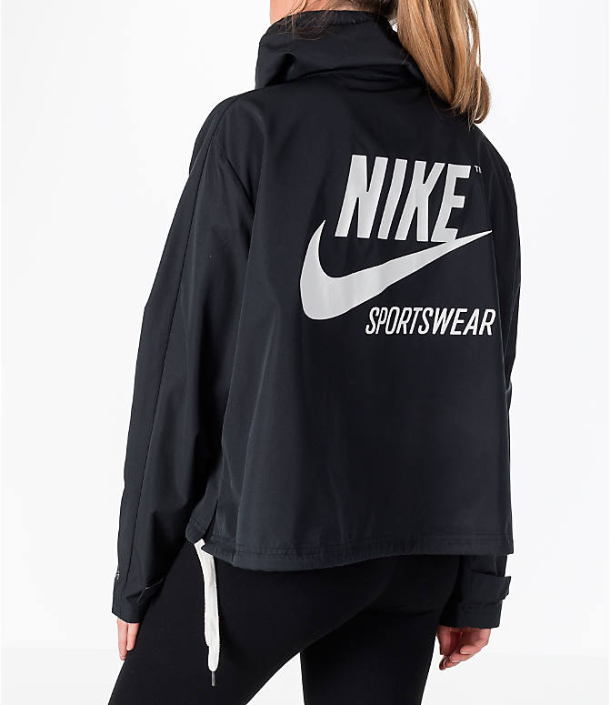 Back Right view of Women's Nike Sportswear Archive Crop Hoodie in Black/Black