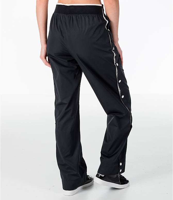 Back Right view of Women's Nike Archive Snap Training Pants in Black/Sail