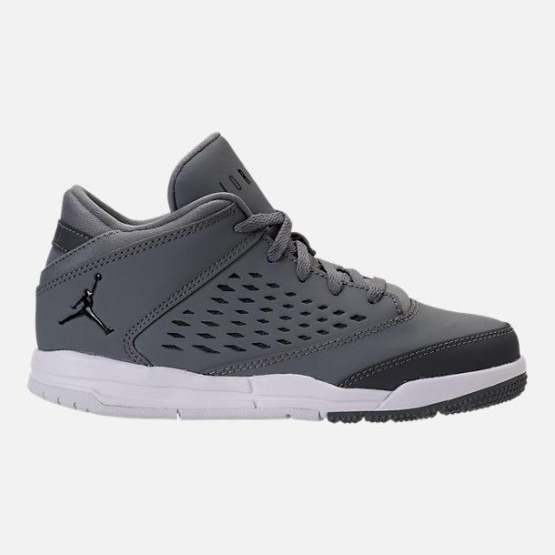 Right view of Boys' Preschool Jordan Flight Origin 4 Basketball Shoes in  Cool Grey/