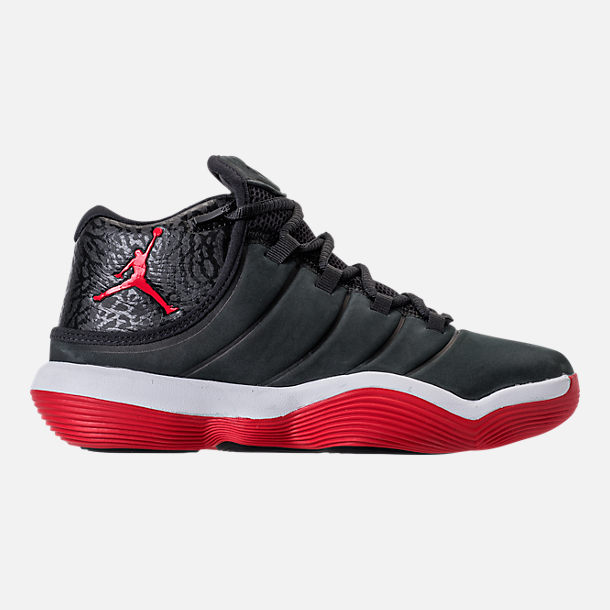 Right view of Boys' Grade School Jordan Super.Fly 2017 Basketball Shoes in Black/University Red/White