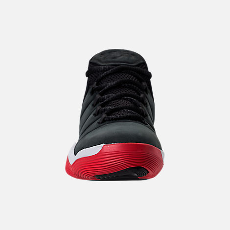 Front view of Boys' Grade School Jordan Super.Fly 2017 Basketball Shoes in Black/University Red/White