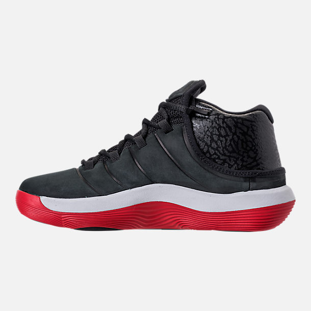 Left view of Boys' Grade School Jordan Super.Fly 2017 Basketball Shoes in Black/University Red/White