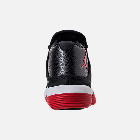 Back view of Boys' Grade School Jordan Super.Fly 2017 Basketball Shoes in Black/University Red/White