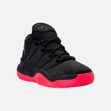 Three Quarter view of Boys' Grade School Jordan Super.Fly 2017 Basketball Shoes in Black/Infrared