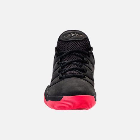 Front view of Boys' Grade School Jordan Super.Fly 2017 Basketball Shoes in Black/Infrared