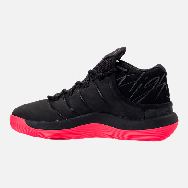 Left view of Boys' Grade School Jordan Super.Fly 2017 Basketball Shoes in Black/Infrared
