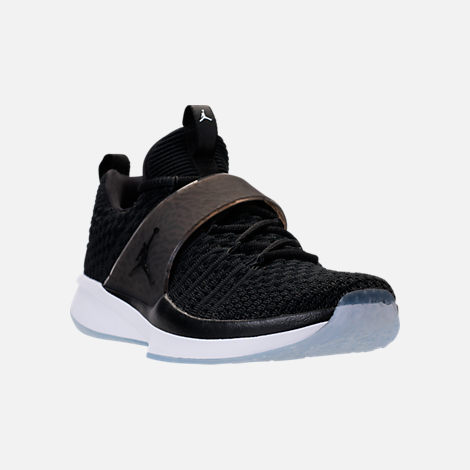 Three Quarter view of Men's Air Jordan Trainer 2 Flyknit Training Shoes in Black/Black/White